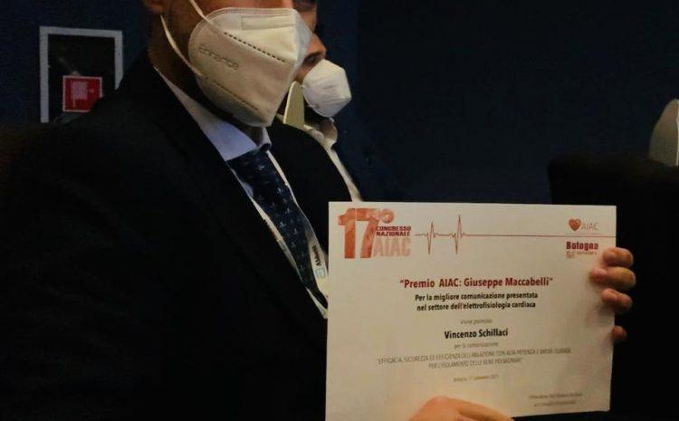 """Assegnato al Dott. Vincenzo Schillaci, elettrofisiologo della Clinica Montevergine, il """"Premio Aiac: Giuseppe Maccabelli"""""""