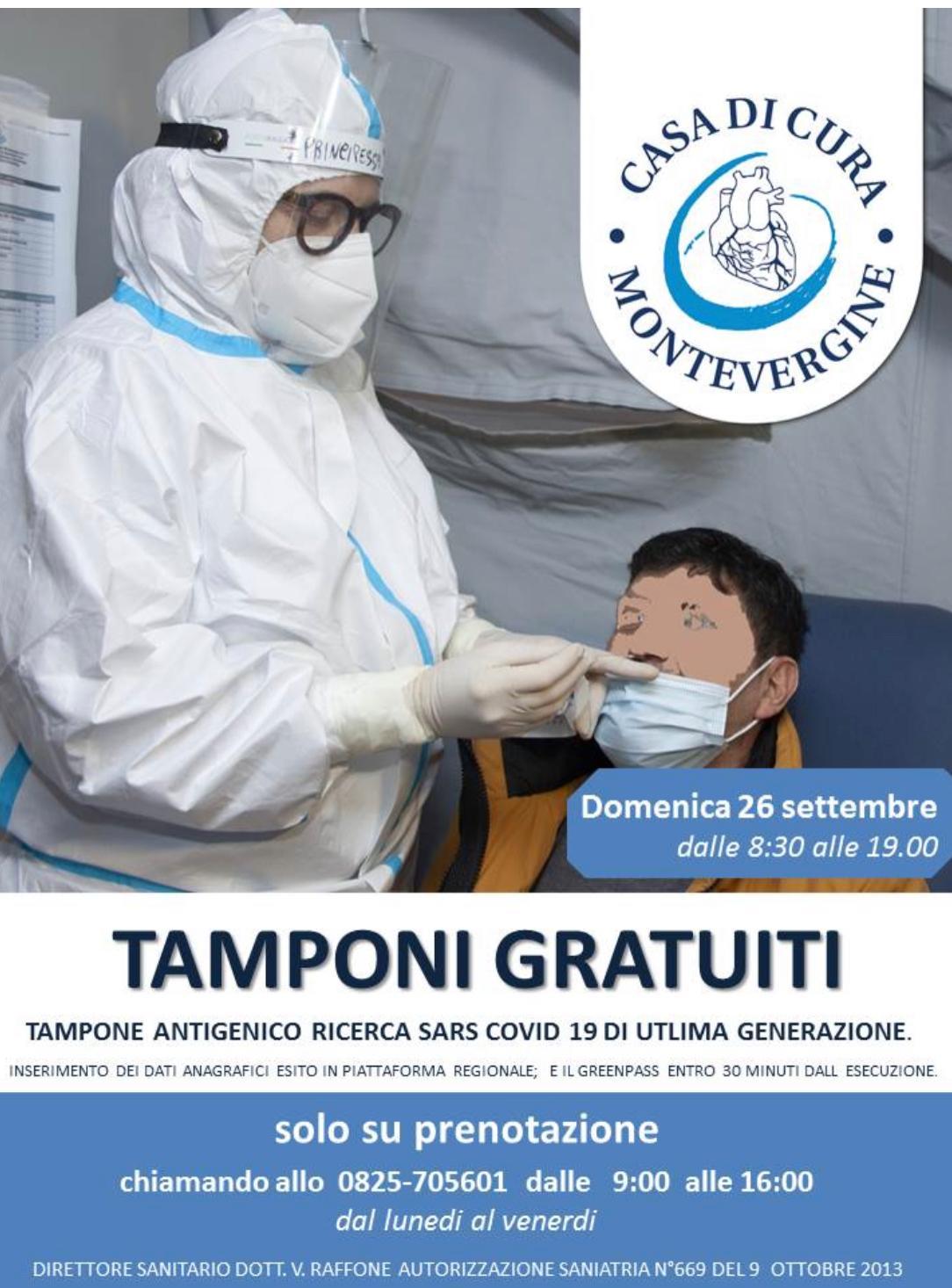 Tamponi antigenici gratuiti, su prenotazione, il 26 settembre